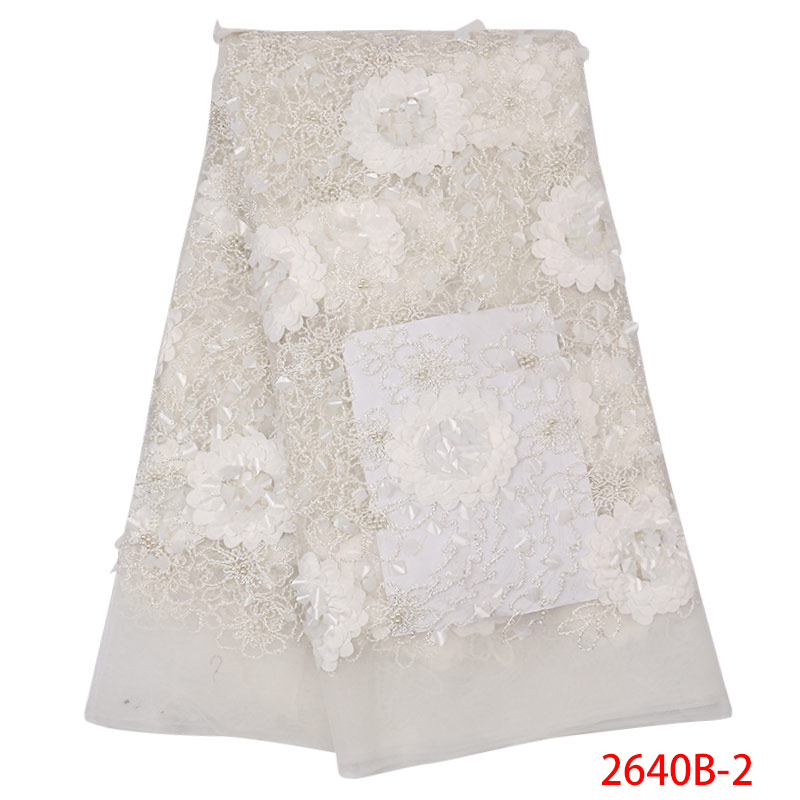 Newest 3D Flowers African Lace Fabric 2019 Beaded French Laces Fabrics Tulle Lace With Sequins Appliques For Dresses KS2640B-2