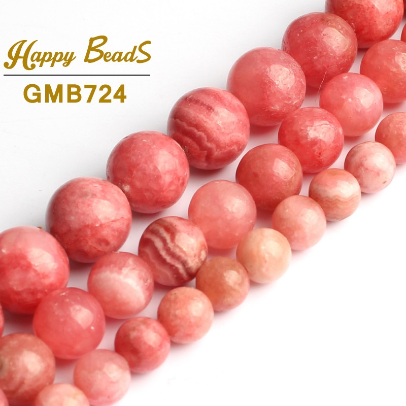 "6//8//10mm Natural Smooth Pink Rhodochrosite Round Gemstone Loose Beads 15/"" AAA"