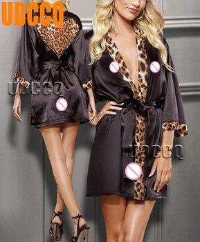 568beb0488ba2 Seksi Leopar Saten Lingerie Pijama Gecelik Stripper Babydoll gece-elbisesi  Elbise Robe kostümler egzotik giyim 9002