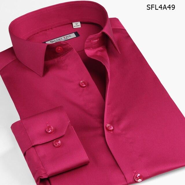 Смарт Пять Мужчин Рубашка 2016 Camisa Социальной Длинным Рукавом Slim Fit Смокинг Рубашки Синий Красный Импортированы Одежда