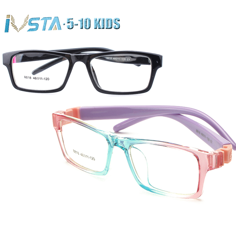 IVSTA 5-10 Kids Glasses Rammer Piger Pink Optisk Ramme Myopi Prescription Amblyopia Eyeglasses Gummi Sleeve No Screw 8818