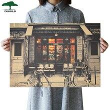 DLKKLB влюбленные перед Кафе Ретро плакат фильм аниме плакат крафт-бумага бар декор настенные наклейки для украшения комнаты живопись