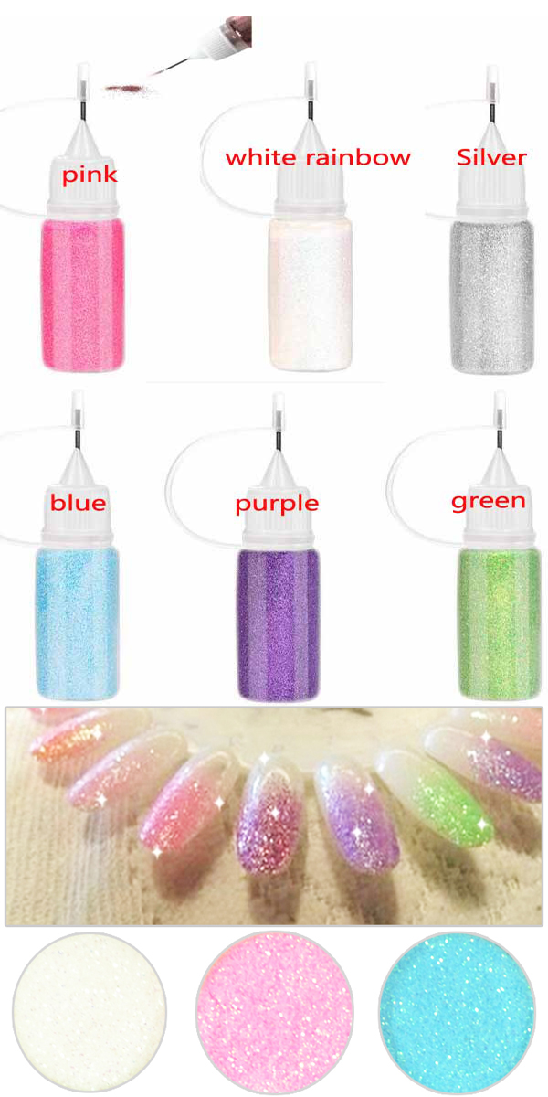 Fashion 7colors crystal multic magic glitter powder for Avon nail decoration tool