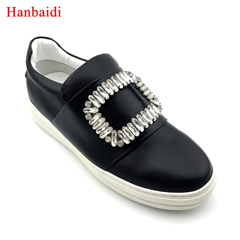 Hanbaidi Hot Real Leather Loafer Shoes Women Round Toe Silk Rhinestone Diamond Square Buckle Thick Bottom Causal Shoes Woman 40
