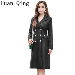 Высокое качество осень Для женщин костюм воротник полосатые блейзеры в Корейском стиле двубортная модель с длинным рукавом Верхняя