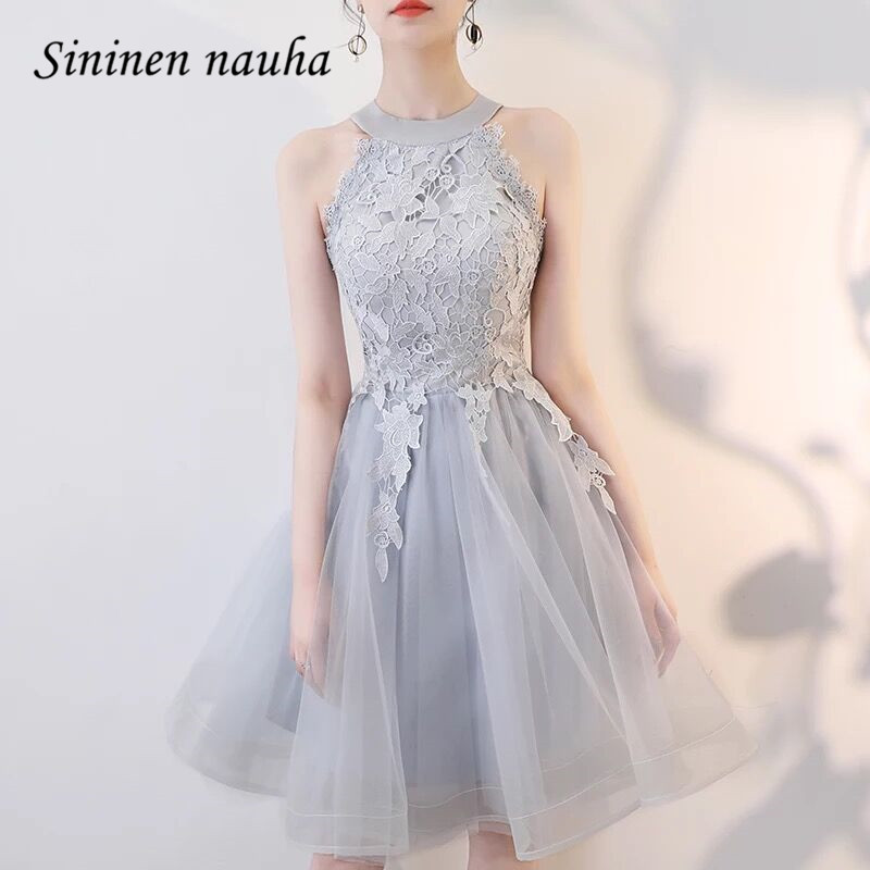 Short Prom Homecoming Dresses for Women Juniors Lace Halter Party Dress A Line Tulle Silver 2019 Plus Size Vestidos De Festa 362(China)