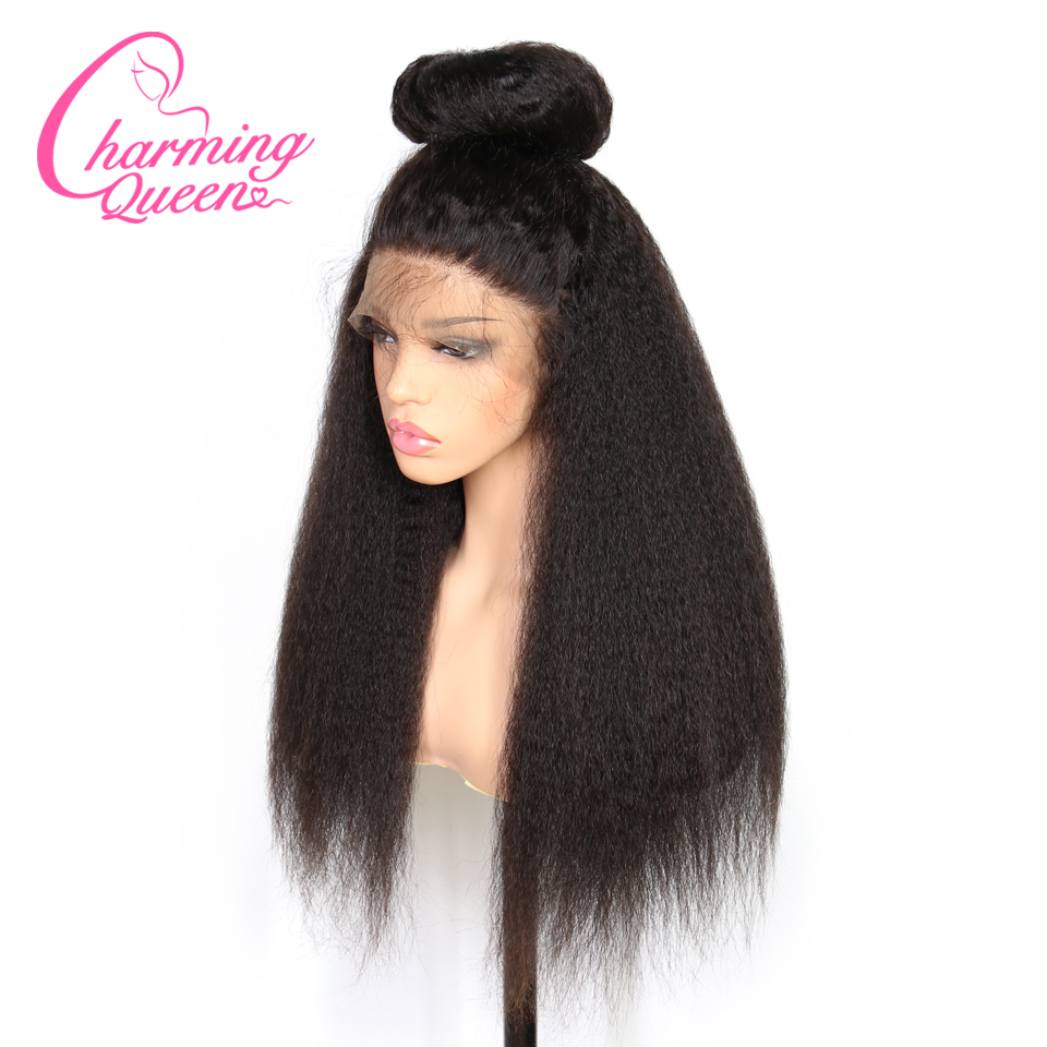 Charming Queen Pre Plucked Full Lace Human Hair Wigs For Black Women Kinky Straight Remy Hair