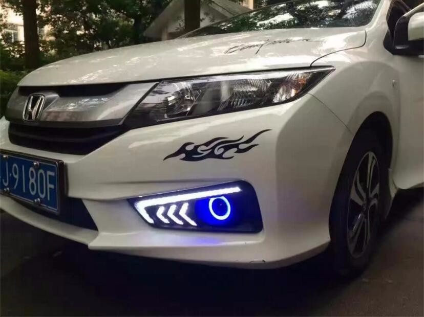 eOsuns Innovative COB Angel eye + LED daytime running light  DRL + halogen Fog Lamp with Projector Lens for honda city 2014-16 eosuns innovative cob angel eye led daytime running light drl halogen fog light projector lens for honda civic 10th 2016