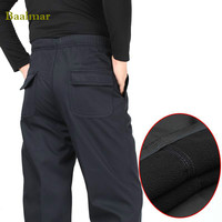 3 Color Winter Pants Men Fleece Warm Casual Thermal Pants Polar Velvet Fabric Thicke Army Green