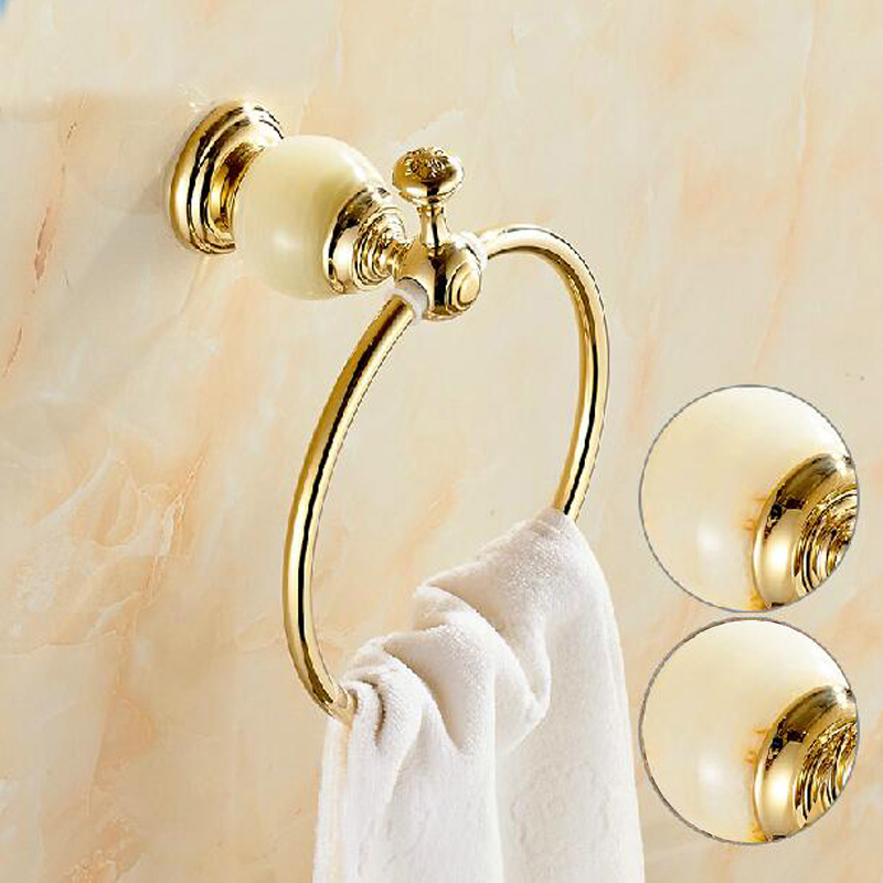 Wholesale And Retail Free Shipping Euro Golden Brass Bathroom Towel Ring Holder Round Towel Rack Holder Marble Towel Rack Bar free shipping wholesale and retail marble
