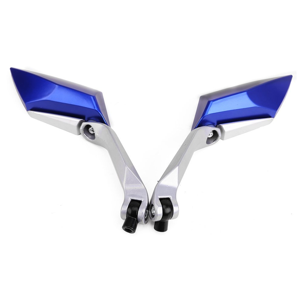 Pair rear-view mirror for motorcycle Scooter tread screw 8mm 10mm M8 M10 blue color