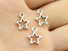 WYSIWYG 30pcs 12mm Antique Silver Antique Bronze Hollow Star Charms Tiny Star Charms Lot Hollow Star For Jewelry Making Charms cheap Zinc Alloy Sun Moon Stars Vintage Fashion Metal
