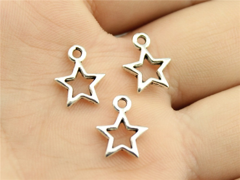 WYSIWYG 30pcs 12mm Antique Silver, Antique Bronze Hollow Star Charms Tiny Star Charms Lot Hollow Star For Jewelry Making Charms