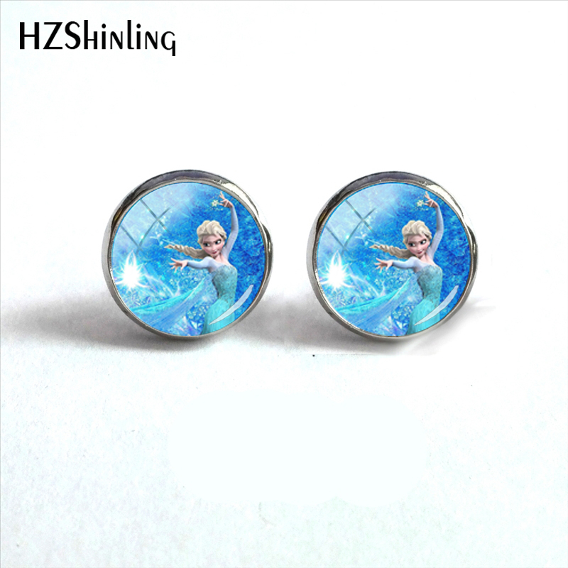 100% Quality New Arrival Cartoon Snow Queen Movie Round Glass Stud Earrings Elsa Princess Art Picture Silver Plated Earring Jewelry