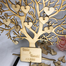 Custom Wedding Guest Book Tree Visit Sign Wooden Hearts Pendant Drop Ornaments for Party Decoration Supplies