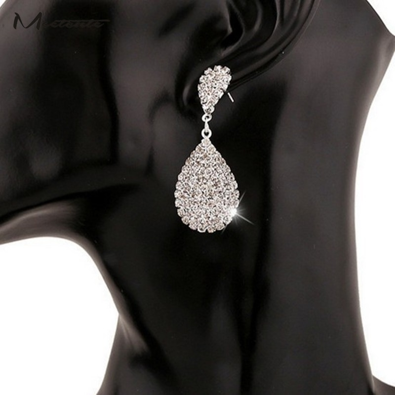 Meetcute Luxury Shining Full Rhinestone Earrings For Women Water Drop Sliver Color Drop Earring Bride Wedding Jewelry Wholesale