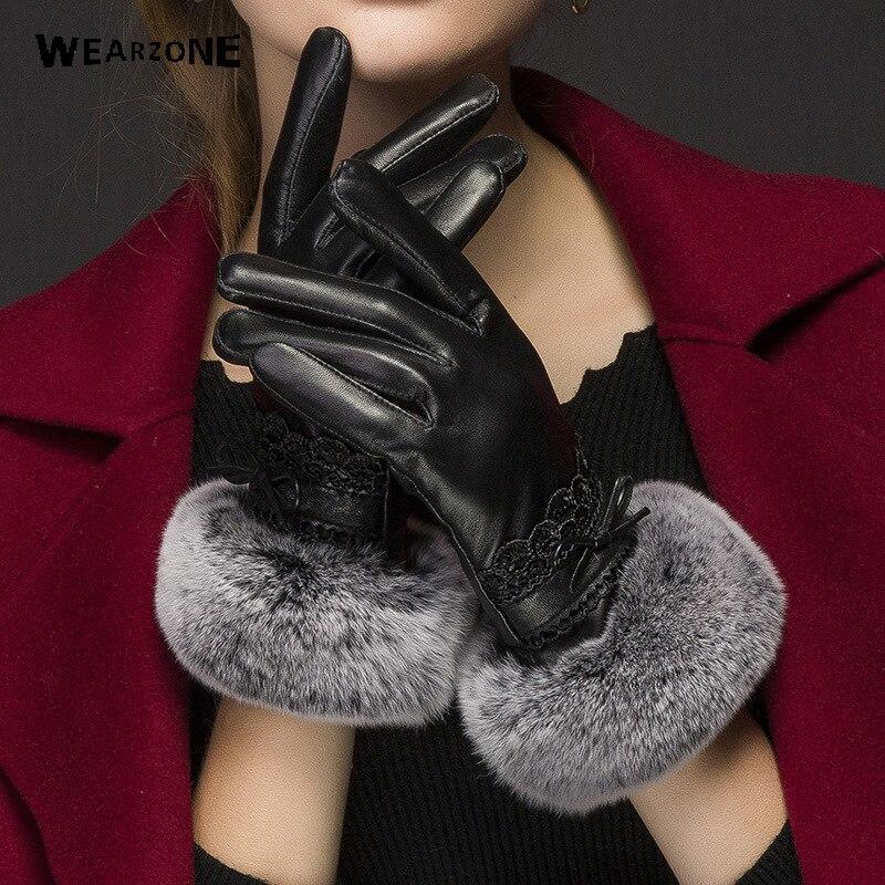 Nouveau 2017 fourrure de lapin femmes mode gants chaud femmes gants en cuir véritable hiver épaississement gants élégants mitaines pour les femmes