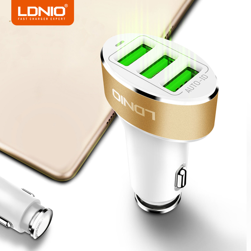 LDNIO <font><b>White</b></font> 3 Ports 5V 5.1A <font><b>USB</b></font> Car <font><b>Charger</b></font> Mobile Phone <font><b>Charger</b></font> with <font><b>USB</b></font> Cable for iPhone X Xiaomi Huawei
