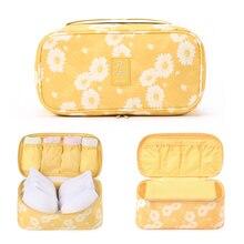 旅行下着オーガナイザー、新デイジー黄色大容量防水女性の女性のブラジャーケーストラベルポーチバッグ複数のポケット