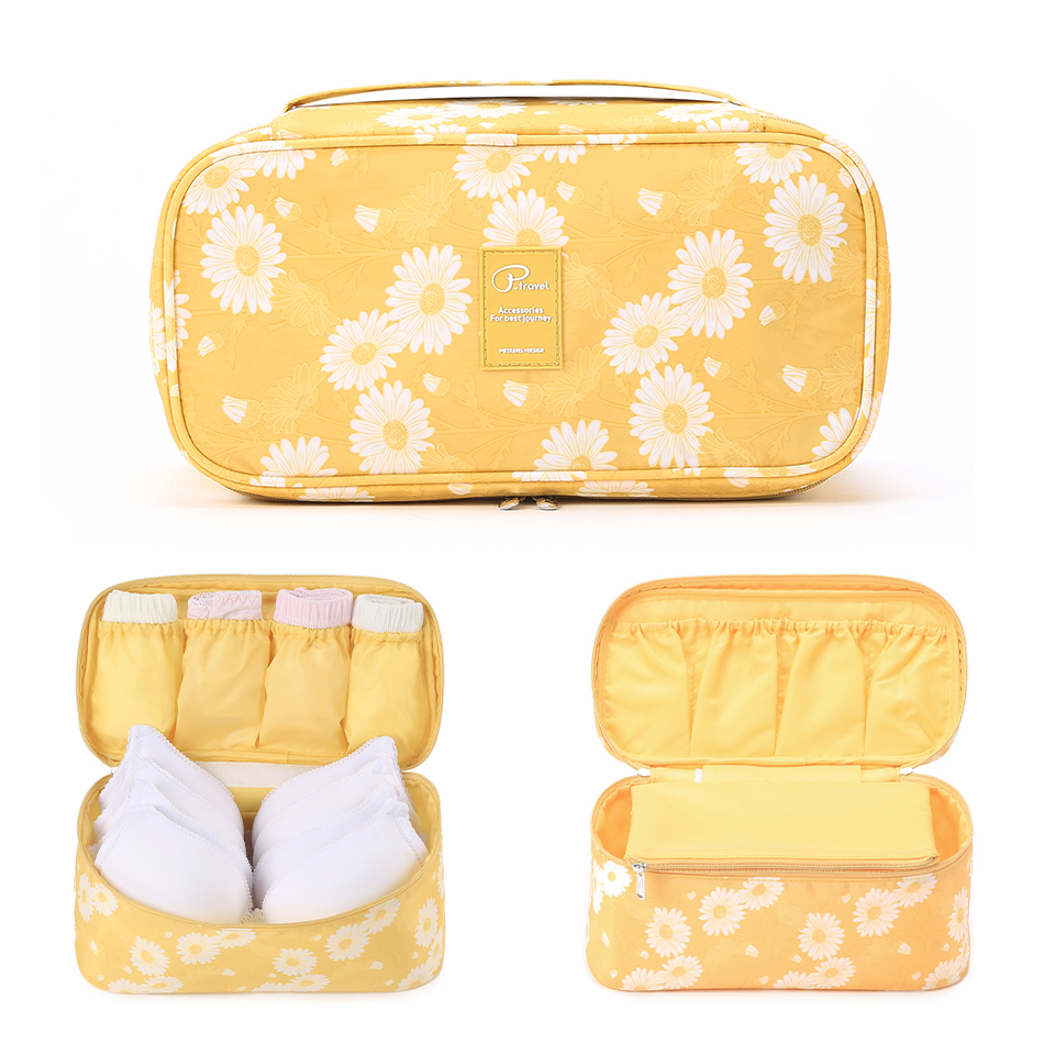 Travel Underwear Organiser, New Daisy Yellow Large Capacity Waterproof Women Ladies Bra Case Travel Pouch Bag Multiple Pockets-in Drawer Organizers from Home & Garden