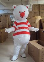 2017 High quality SpotSound bear mascot snowman with red and white striped t-shirt