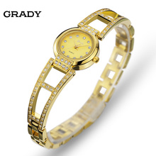 ГРЕЙДИ Дамы бренд часы Браслет женщины одеваются часы 18 К Золотой ободок японии movt и 3atm