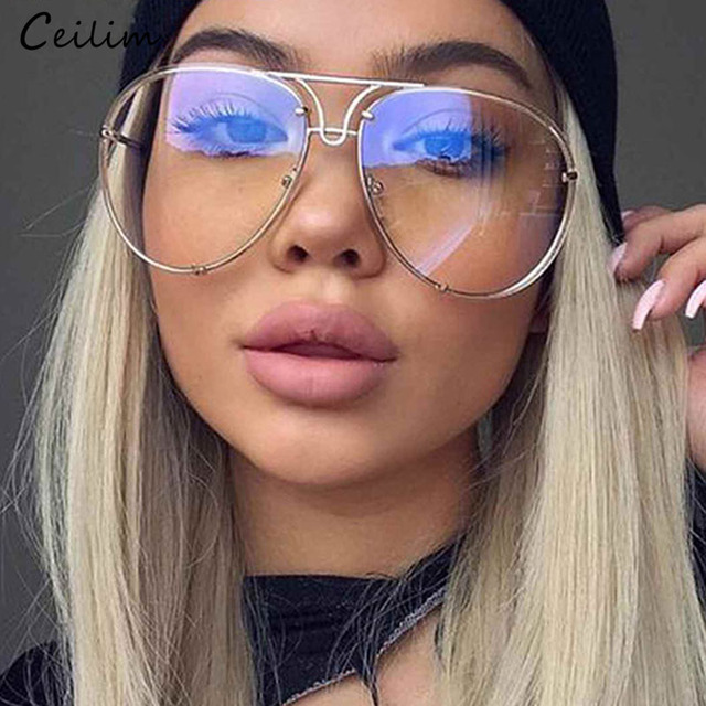 ba1940dabc 2019 Clear Glasses Women Optics Eyeglasses Frames Big Oversized Transparent  Oculos Lunette Pilots Eyewear Lady Fake