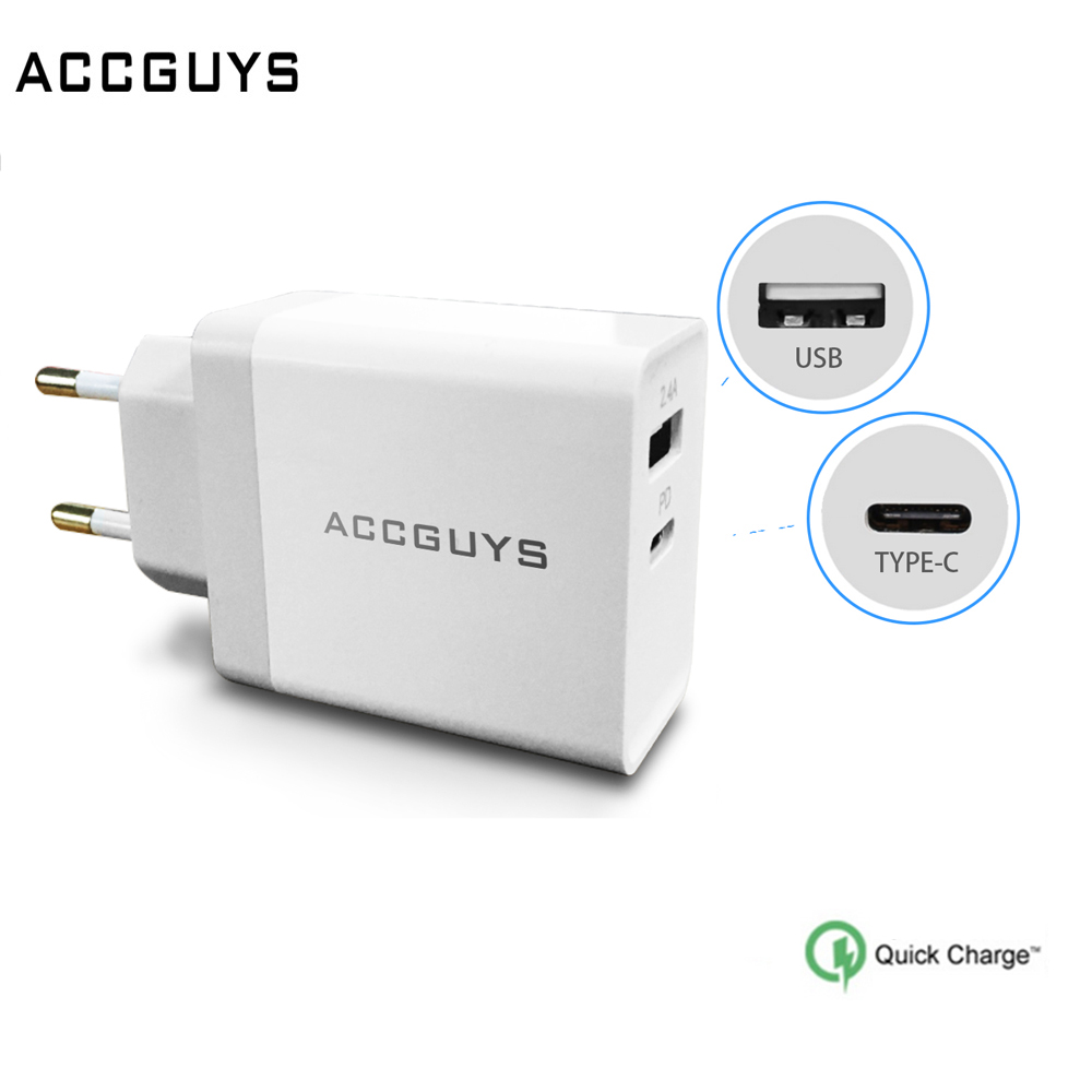ACCGUYS USB PD Charger Fast Charger Type C Power Delivery Quick Charge 3.0 Adapter Travel Wall Chargers for Xiaomi Huawei Macbok