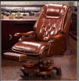 Купить с кэшбэком Boss Chair Leather Massage Reclining Office Chair Double Cushion Executive Chair Solid Wood Armchair..