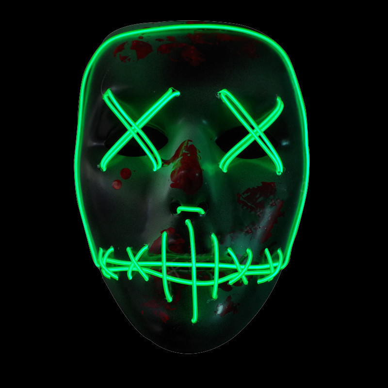 EL Wire <font><b>Mask</b></font> Light Up Neon Skull LED <font><b>Mask</b></font> For Halloween <font><b>Party</b></font> And Concert Scary <font><b>Party</b></font> Theme Cosplay Payday Series <font><b>Masks</b></font>