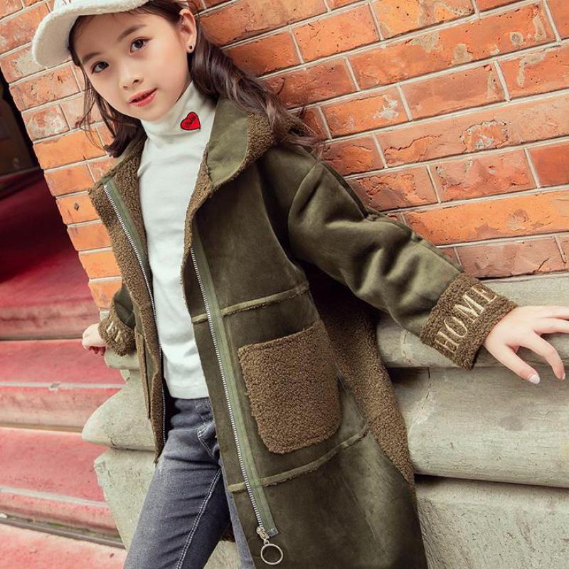 цена Kids Girls Wool Coat Thick 2018 New Korean Children Autumn Winter Long Woolen Coat Girls Fashion Jacket Christmas Gift 10 12 14