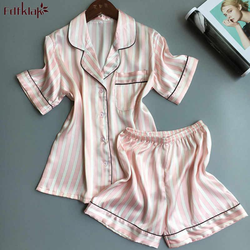 Detail Feedback Questions about Fdfklak 2018 Fashion Striped Summer Pajamas  Women Short Sleeve Pajama Set Ladies Sleepwear Home Clothes Silk Pijamas  Suit on ... 9ae5ec63c