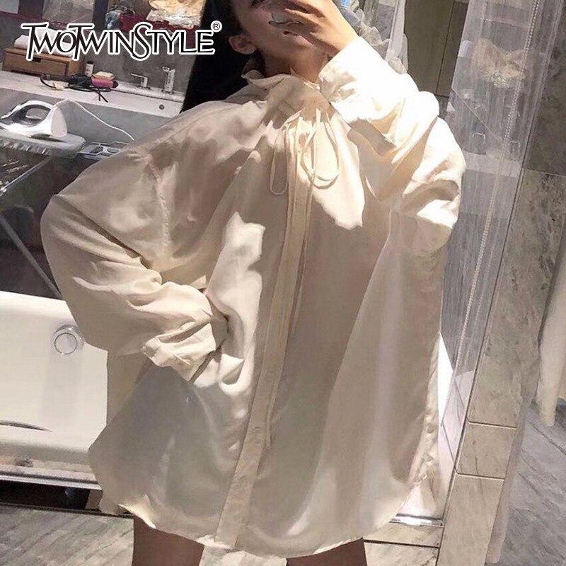 Deuxtwinstyle à manches longues chemise Blouse femmes à lacets marée décontracté dessus de chemise femme mode vêtements coréen 2019 automne grande taille