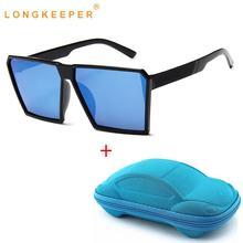 LongKeeper New Kids Sunglasses with Case Luxury Brand Oversize Square Boys Girls Sun glasses Vintage Cool Eyewear UV400 Oculos