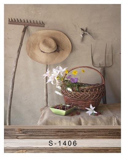 Personnaliser lavable sans rides ferme outils fleur paniers photographie fonds pour bébé photo studio portrait fond S-1406