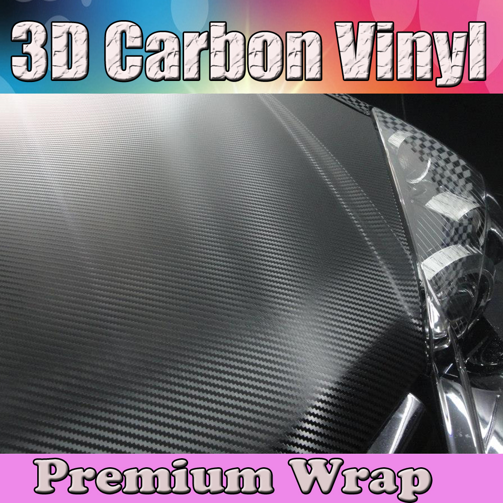 1.52x20m/Roll 3D Black Carbon Fibre Vinyl Car Wrap Film With Air Bubble Free like Real Weave waterproof self adhesive