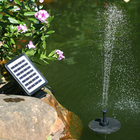 7V 1.5W Water Pump Solar Panel Submersible Brushless Water Pump Kit Built in Storage Battery LED Light for Garden Pond Bird Bath