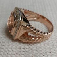 Твердые 925 Серебряные ювелирные изделия 11 мм морганитное кольцо с 18 каратного розового золота покрытием бренд ювелирных изделий Серебряное