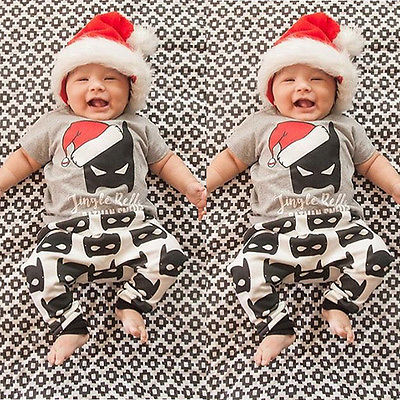 Newborn Baby Boy Girls Clothes Christmas Batman T-shirt Tops+Pants 2pcs Outfits