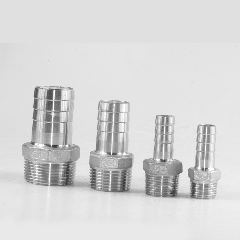 """1/8"""" Thread Pipe Fitting x Barb Hosetail Reducer Fitting,  Stainless Steel 304 Connector"""