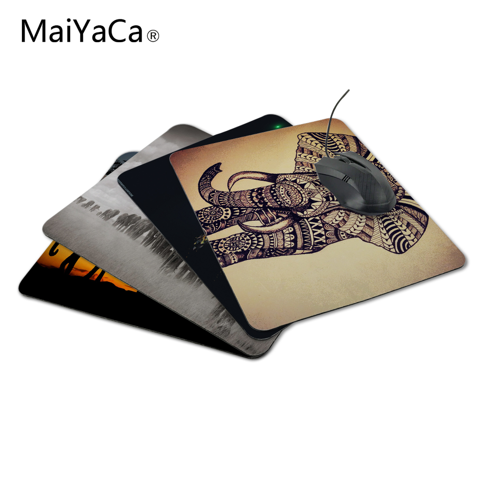 MaiYaCa Elephant Vintage Pattern Style Anti-Slip Mousepad კომპიუტერული მაუსის Pad Pad Optal Me Trackball Mouse Not Lockedge Mouse