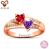 AIJAJA Real Sterling Silver Personalized Birthstone Engraved Love Promise Ring DIY Double Heart Stone Couple Ring