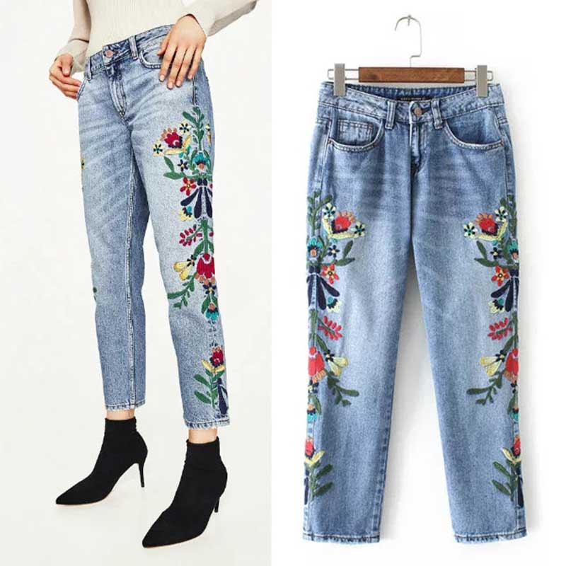 Embroidered Jeans Women 2017 New Spring Straight Jeans Women Flower Plus Size Denim Womens Casual Pants