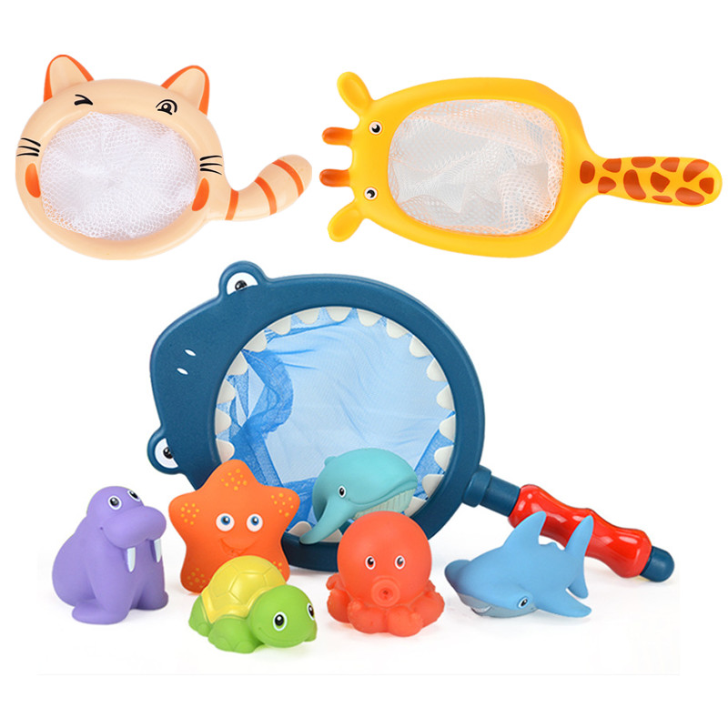 Fishing Toys Network Bag Pick up Duck&Fish Kids Toy Swimming Classes Summer Play Water Bath Doll Water Spray Bath toys
