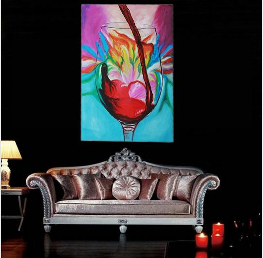 unique abstract hand painted red wine oil painting on canvas art wall bed room hotel art decor - Unique Bed Frames
