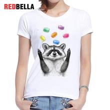 REDBELLA Cotton Women T-shirt Sketch 3D Print Raccoon Cute Kawaii White Tees Casual Funny Humor Animation Movie Clothing Tumblr