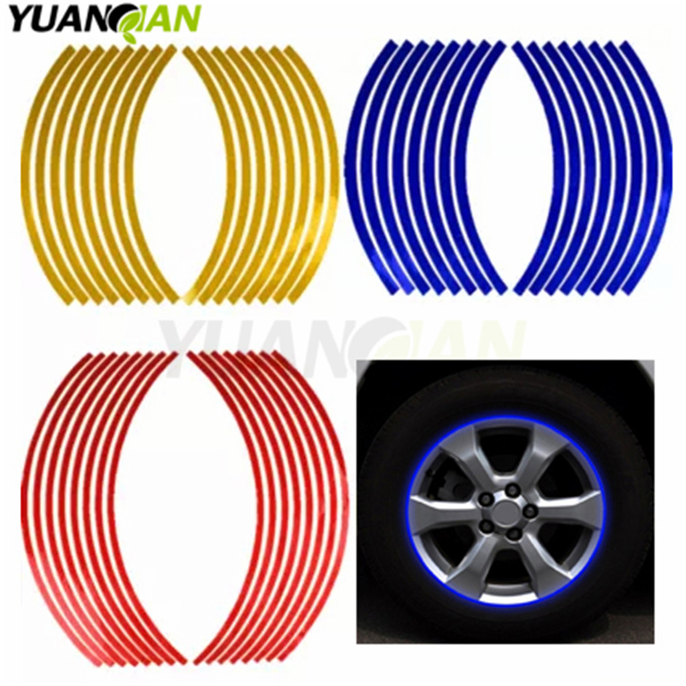 Reflective 16 Strips Car Motorcycle Bicycle Wheel Tire Rim Stickers Car-Styling Decals Decoration Stickers 2017 Hot