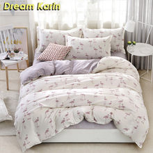 Dream Karin 2/3 Pcs Flamingo Pattern Bedding Sets Brief Style Polyester Duvet Quilt Covers Pillowcases Single Double Bed Set(China)