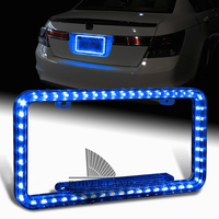 Universal Fit Blue 54LEDS Illuminated 12V DC Acrylic U S Standard Car Truck License Plate Frame