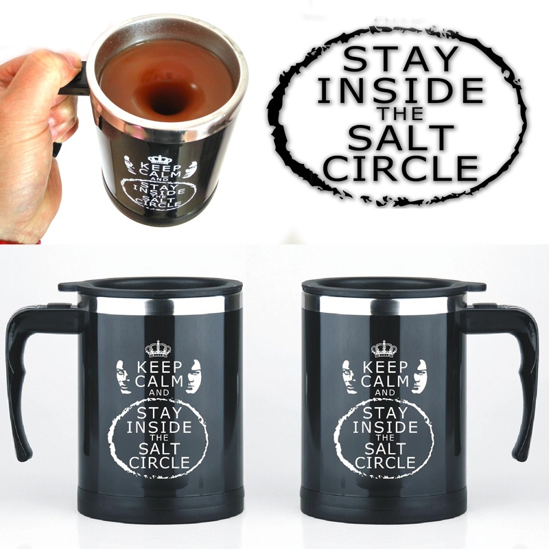 Free shipping keep clam and stay inside the salt circle self stirring mug Automatic Electric Coffee